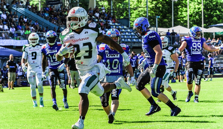 Jerome Manyema (#23) machte in Kempten zwei Touchdowns